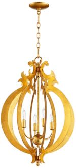 "Danielle 25"" Wide Gold Leaf 4-Light Iron Pendant (6T210)"