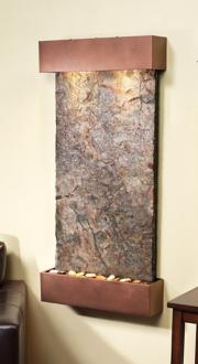 "Whispering Creek Green Slate Copper Vein 46""H Wall Fountain (6V379)"