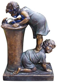 "Boy and Girl LED Indoor - Outdoor 27"" High Floor Fountain (6W925)"