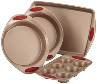 Rachael Ray Brown and Red 4-Piece Nonstick Bakeware Set (6Y159) 6Y159