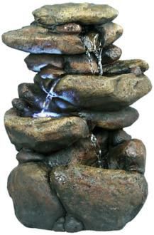 "Rock Formation 3-Tier LED 11"" High Tabletop Fountain (6Y236)"
