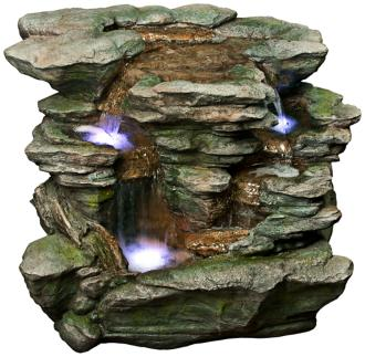 "Rainforest Waterfall Stacked LED 25"" High Floor Fountain (6Y283)"