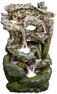 "Rainforest Waterfall Mossy 39"" High LED Floor Fountain (6Y285)"