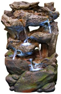 "Rock Wall Small LED Indoor - Outdoor 22"" High Table Fountain (6Y287)"