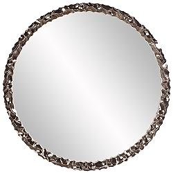 "Howard Elliott Memphis Textured Nickel 36"" Round Wall Mirror"