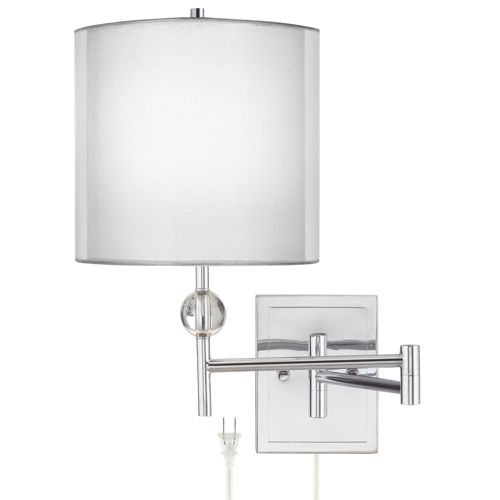 Kohle Chrome and Acrylic Ball Swing Arm Wall Lamp