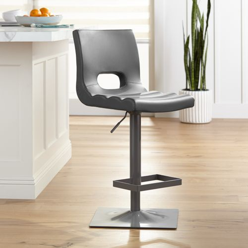 Donovan Gray Faux Leather Adjustable Swivel Bar Stool