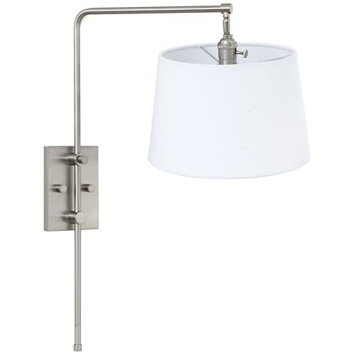 House of Troy Crown Point Satin Nickel Swing Arm Wall Lamp