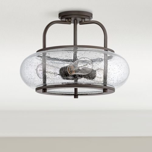 "Quoizel Trilogy 16"" Wide Old Bronze Ceiling Light"