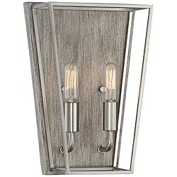 "Possini Euro Jaydn 12""H Nickel and Wood Wall Sconce"