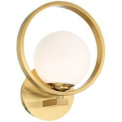 "Possini Euro Bryony 11 1/4""H Brass Globe Wall Sconce"