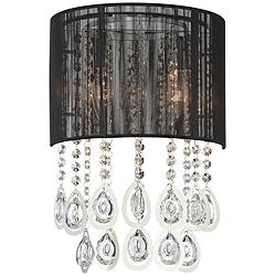 "Possini Euro Leja 15 3/4""H Crystal Droplet Black Wall Sconce"
