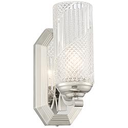 "Possini Euro Lewie 10 1/2""H Glass and Nickel Wall Sconce"