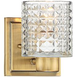 "Possini Euro Sari 6 1/2""H Cut Glass and Gold Wall Sconce"