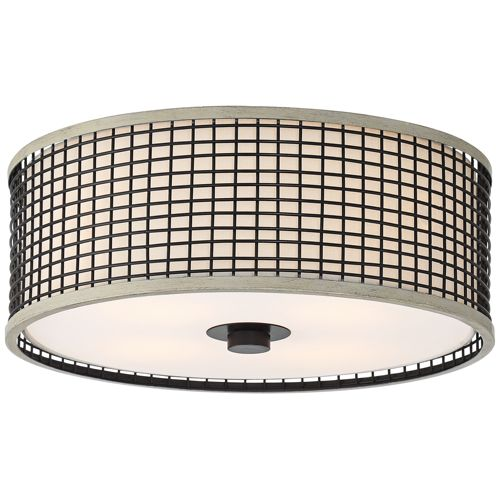 "Talha 17""W Black Wire and Wood Cage Ceiling Light"