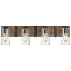 "Hinkley Sawyer 30 3/4"" Wide Sequoia Wood 4-Light Bath Light"