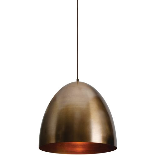 "Brooklyn 15 3/4"" Wide Antique Brass Metal Dome Pendant Light"