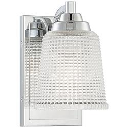"Parlier 8 3/4"" High Chrome and Textured Glass Wall Sconce"