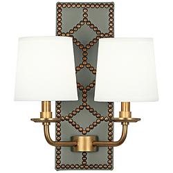 "Lightfoot 16 1/2""H Aged Brass w/ Carter Leather Wall Sconce"
