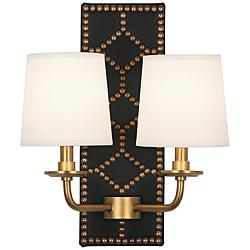 "Lightfoot 16 1/2""H Aged Brass with Black Leather Wall Sconce"