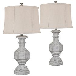 Crestview Collection Emily Gray Stone Table Lamps Set of 2