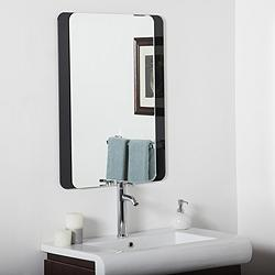 "Skel 23 1/2"" x 31 1/2"" Black Frameless Bathroom Wall Mirror"