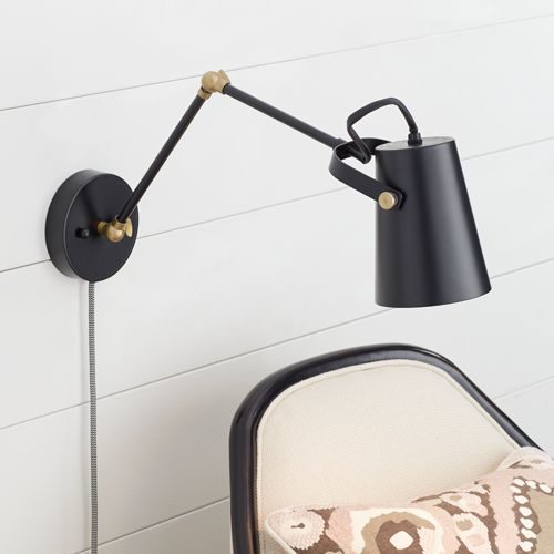 Bowers Black & Antique Brass Plug-In Wall Light