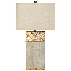 Alan Cement and Antique Gold Square Table Lamp