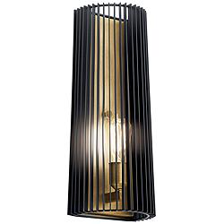 "Kichler Linara 17"" High Black and Natural Brass Wall Sconce"
