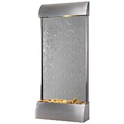 "Breckenridge 42"" High Steel Mirror LED Outdoor Wall Fountain"