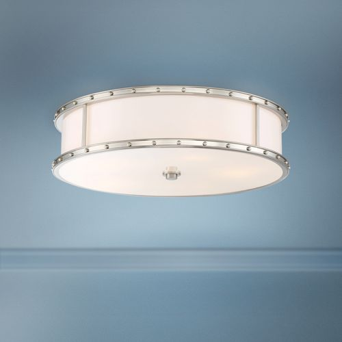 "Flush Mount 20 1/4""W Brushed Nickel Drum LED Ceiling Light"