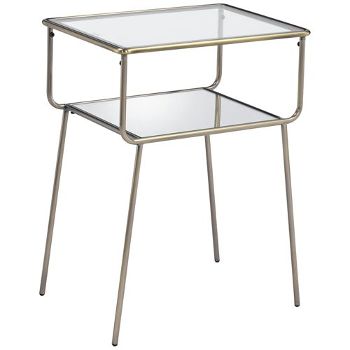 "Sophia 19"" Wide Antique Gold Metal and Clear Glass End Table"