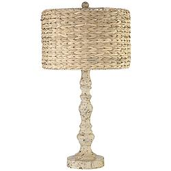 Jackson Distressed Antique White Candlestick Table Lamp