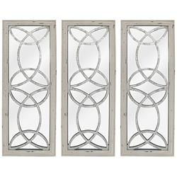 "Depiction White 11 3/4"" x 31 1/2"" Wall Mirrors Set of 3"