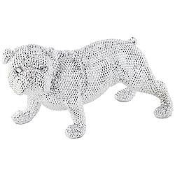 "Silver Standing Bulldog 15 3/4"" Wide Sculpture"