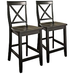 "Bristol 24"" Black Armless Counter Stools Set of 2"