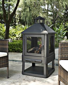 "Monticello 360-Degree 45 1/2"" High Black Steel Firepit (7J704)"