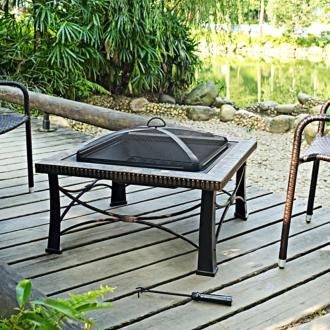 "Firestone Tuscan Slate 30""-W Black Steel Low Outdoor Firepit (7J712)"