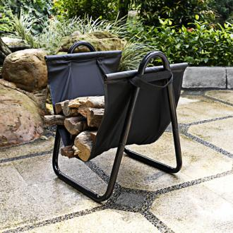 Logan In or Out Black Canvas and Steel Firewood Carrier Rack (7J722)