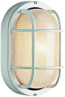 "Bulkhead 8 1/2"" High White Oval Grid Outdoor Wall Light (7P050) 7P050"