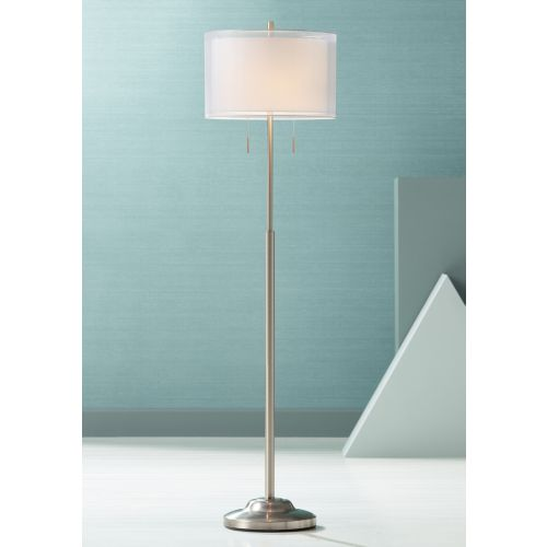 Roxie Brushed Nickel Floor Lamp with Double Drum Shade