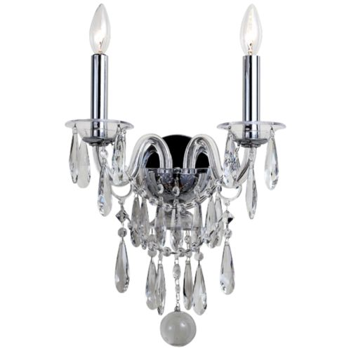 "Crystorama Barrymore 18"" High Chrome 2-Light Wall Sconce"