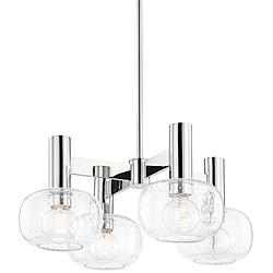 "Mitzi Harlow 23"" Wide Polished Nickel 4-Light Chandelier"