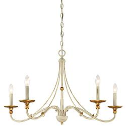 "Westchester County 28""W Farmhouse White 5-Light Chandelier"