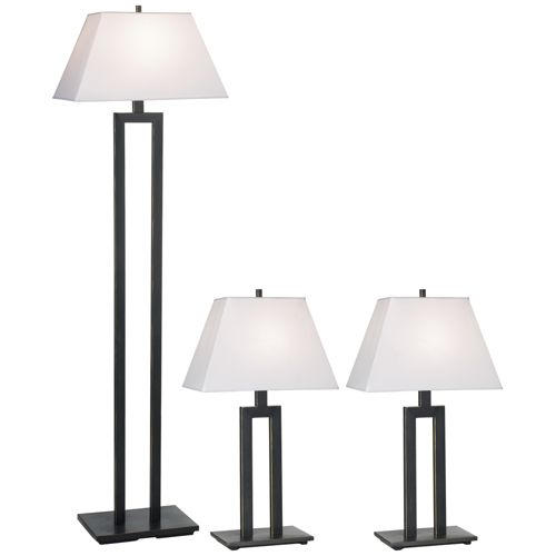 Contemporary Trio Table and Floor Lamp Set of 3