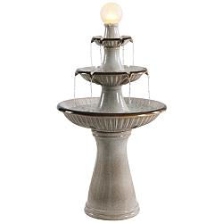 "Knight 45 1/4"" High Ivory 3-Tier LED Floor Water Fountain"