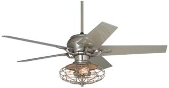 "52"" Casa Optima™ Industrial Brushed Steel Ceiling Fan (86646-66116-Y2848-3F778)"