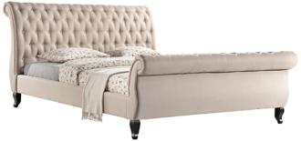 Nottingham Tufted Sand Fabric King Platform Sleigh Bed (8D725)