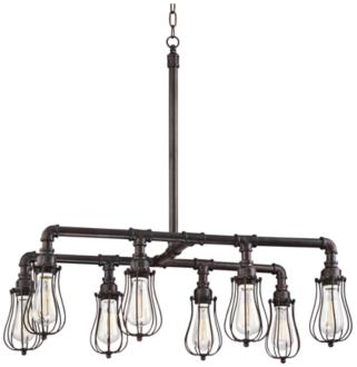 "Galena 33"" Wide 8-Light Bronze LED Pipe Island Pendant (8G567)"