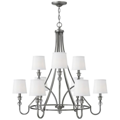 hinkley 35 quot wide 9 light antique nickel chandelier 87980